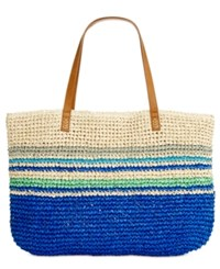 Styleandco. Style Co. Stripe Straw Beach Bag Tote Only At Macy's Blue Stripes