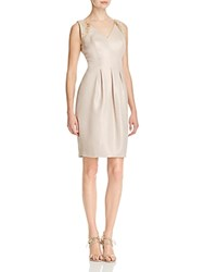 Carmen Marc Valvo Infusion Embellished V Neck Dress Taupe Gold