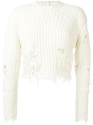 Yeezy Season 3 Destroyed Cropped Boucle Jumper White