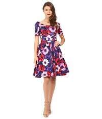 Unique Vintage Cap Sleeve Scallop Roman Holiday Dress Purple Floral Women's Dress