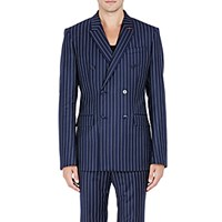 Givenchy Men's Pinstriped Twill Double Breasted Sportcoat Navy