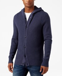 Vince Camuto Men's Hooded Cardigan Blue