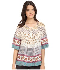 P.J. Salvage Challe Chic Boho Tunic Natural Women's Blouse Beige