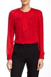 L.A.M.B. Pleated Silk Blouse Red