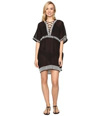 Vitamin A Isabell Short Caftan Cover Up Spellbound Embroidered Gauze Women's Swimwear Black