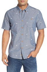 Quiksilver Men's Waterman Collection 'Post Haste' Print Short Sleeve Chambray Sport Shirt