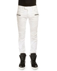 Balmain Dirty Wash Denim Biker Jeans White