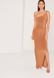 Missguided Plait Strap One Shoulder Slinky Maxi Dress Tan Bronze