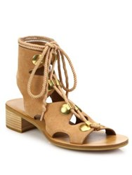 See By Chloe Edna Cutout Suede Lace Up Sandals Cipria Nero
