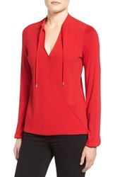 Michael Michael Kors Women's Crossover Woven Front Top Red Blaze