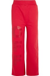 Off White Split Hem Printed Cotton Jersey Track Pants Red