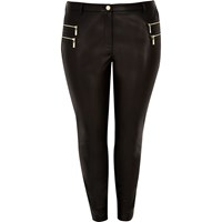 River Island Womens Plus Black Leather Look Zipped Trousers