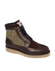 Fred Perry Northgate Harris Tweed Brogue Boots Brown