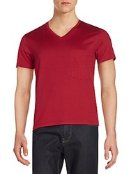 Kent And Curwen V Neck Cotton Tee Claret