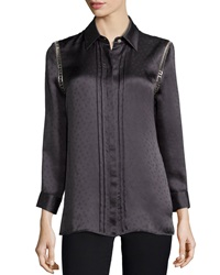 Kay Unger New York Dot Jacquard Silk Top
