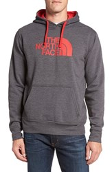 The North Face Men's Drawstring Hoodie Tnf Dark Grey Heather Tnf Red