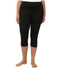 Marika Curves Plus Size Slimming High Rise Capri Leggings Black Women's Workout