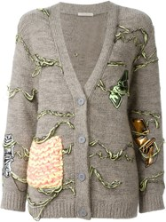 Christopher Kane Applique Detail Cardigan Nude And Neutrals
