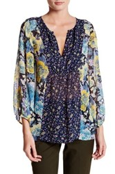 Joie Thistle Sheer Silk Blouse Blue