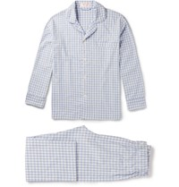 Emma Willis Wiis Gingham Brushed Cotton Pyjama Set Bue Blue
