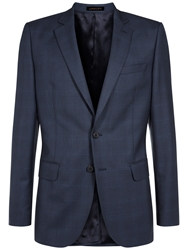 Jaeger Cool Wool Check Suit Jacket French Navy