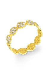 Women's Bony Levy Stackable Disc Pave Diamond Ring Yellow Gold