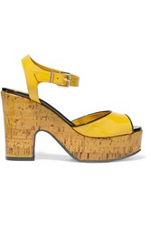 Fendi Cecilia Patent Leather Platform Sandals Yellow