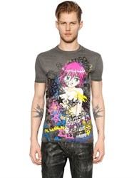 Dsquared Manga Printed Washed Jersey T Shirt