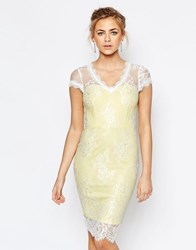 Paper Dolls V Neck Pencil Dress In All Over Lace Yellow Blue