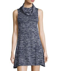 Bishop Young Cowl Neck Sleeveless Trapeze Dress Blue Gray