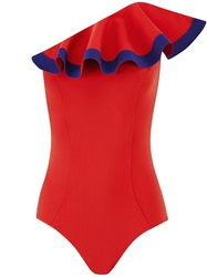 Lisa Marie Fernandez 'Natalie' Flounce Swimsuit Red