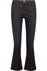 Frame Crop Mini Mid Rise Bootcut Jeans Dark Denim