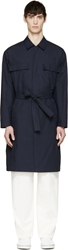 Umit Benan Navy Poplin Long Trench Shirt