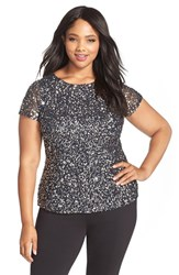 Plus Size Women's Adrianna Papell Beaded Mesh Top