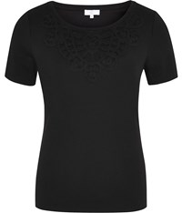 Cc Lace Neckline Jersey Top Black