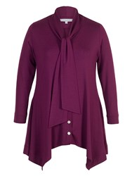 Chesca Pussy Bow Button Thru Tunic Plum