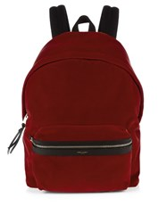 Saint Laurent Velvet Backpack Red