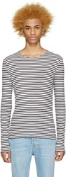 Maison Martin Margiela Navy And Off White Striped Pullover