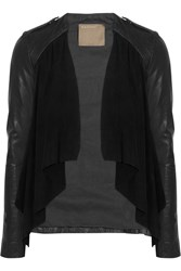 Muubaa Lupus Draped Suede And Leather Biker Jacket Black