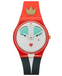 Swatch Unisex Swiss Es War Einmal Red And Blue Silicone Strap Watch 34Mm Gr165 No Color