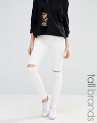 Missguided Tall High Waisted Slash Knee Skinny Jean White