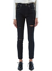 Saint Laurent Skinny Distressed Jeans Black