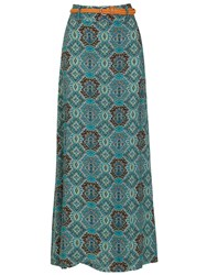 Izabel London Scarf Print Maxi Skirt With Braided Belt Green