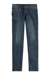 The Kooples Distressed Straight Leg Jeans Blue