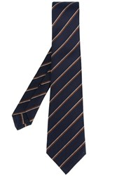 Kiton Striped Tie Blue