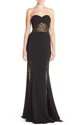 Women's Jay Godfrey 'Lott' Strapless Lace And Crepe Gown