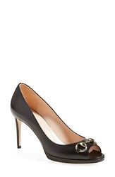 Women's Gucci 'Gisele' Open Toe Pump Black Leather