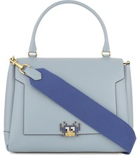 Anya Hindmarch Bathurst Space Invaders Leather Satchel Duck Egg