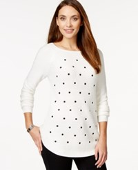Styleandco. Style And Co. Polka Dot Mixed Knit Tunic Sweater Only At Macy's White