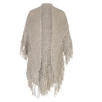 Chesca Wool Blend Large Fringed Shawl With Crocheted Panel Oatmeal